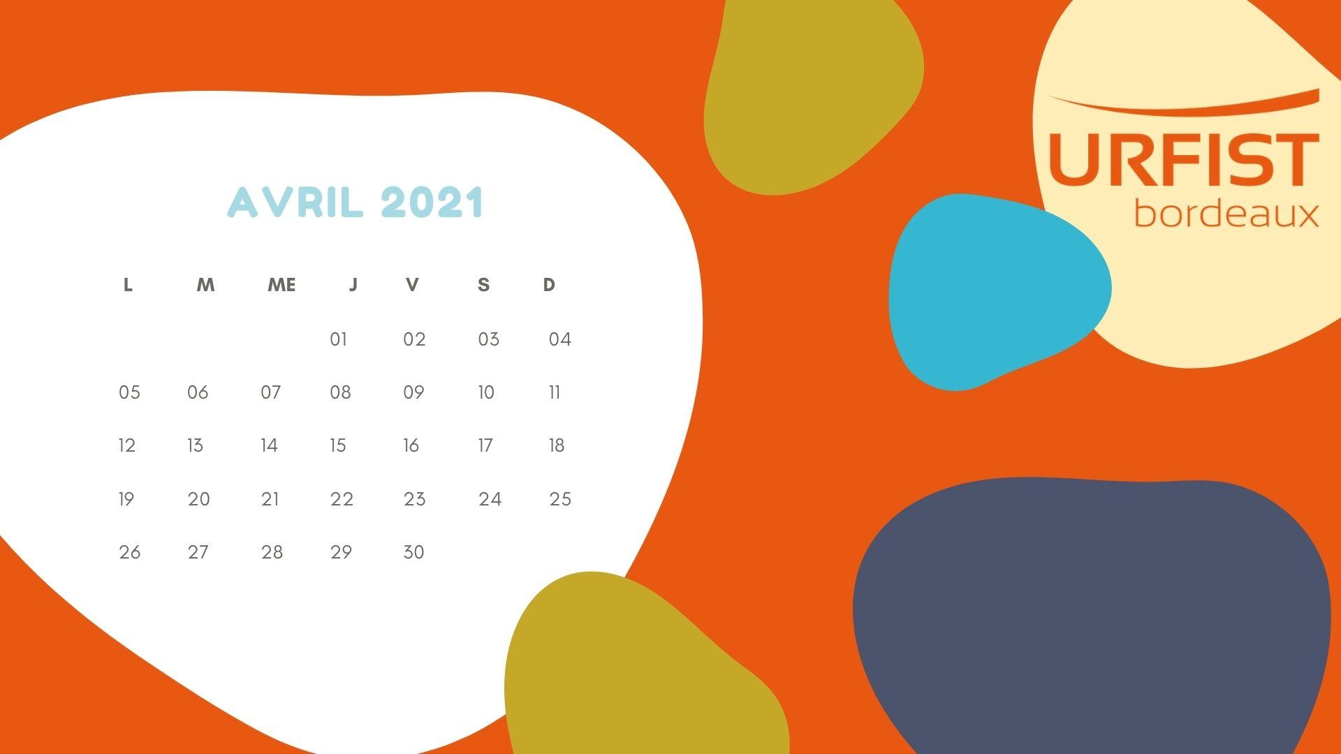 Calendrier du mois d'avril 2021