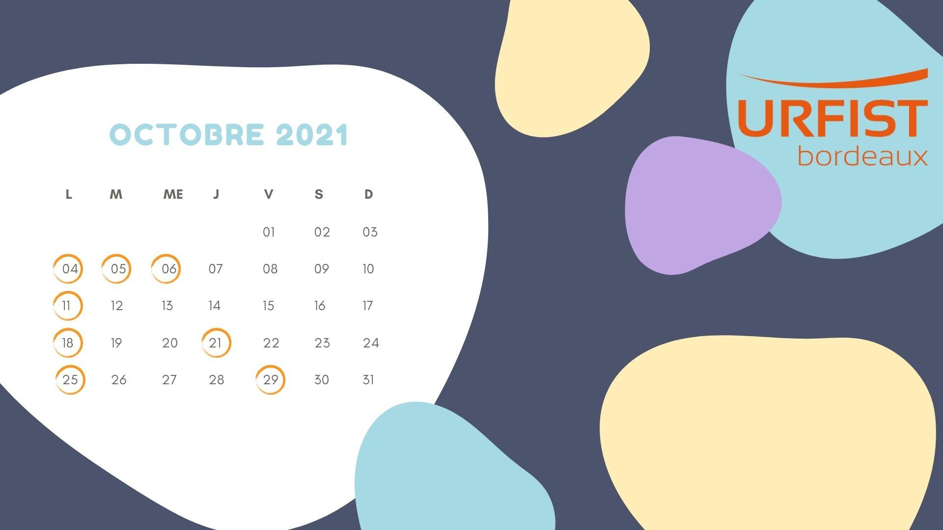 Calendrier du mois d'octobre 2021