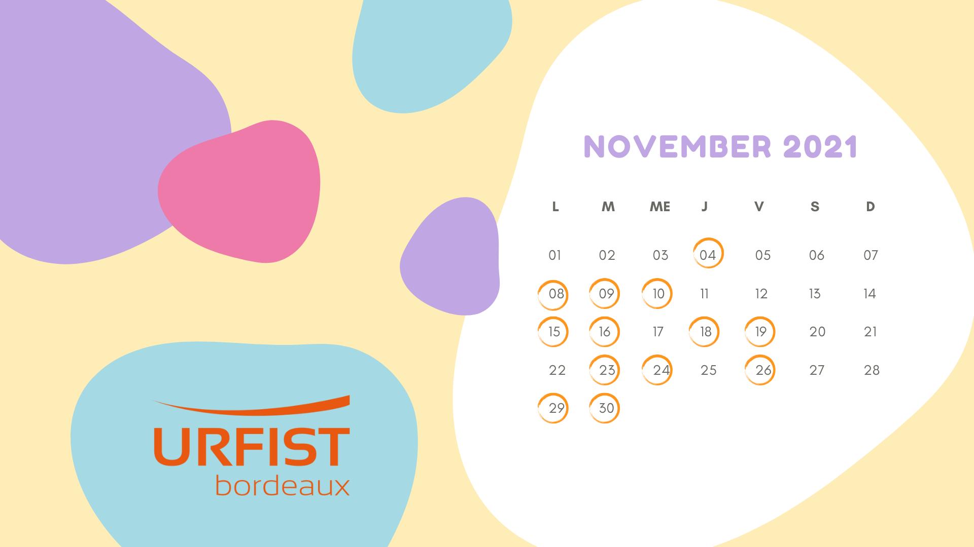 Calendrier du mois de novembre 2021 avec les dates des formations